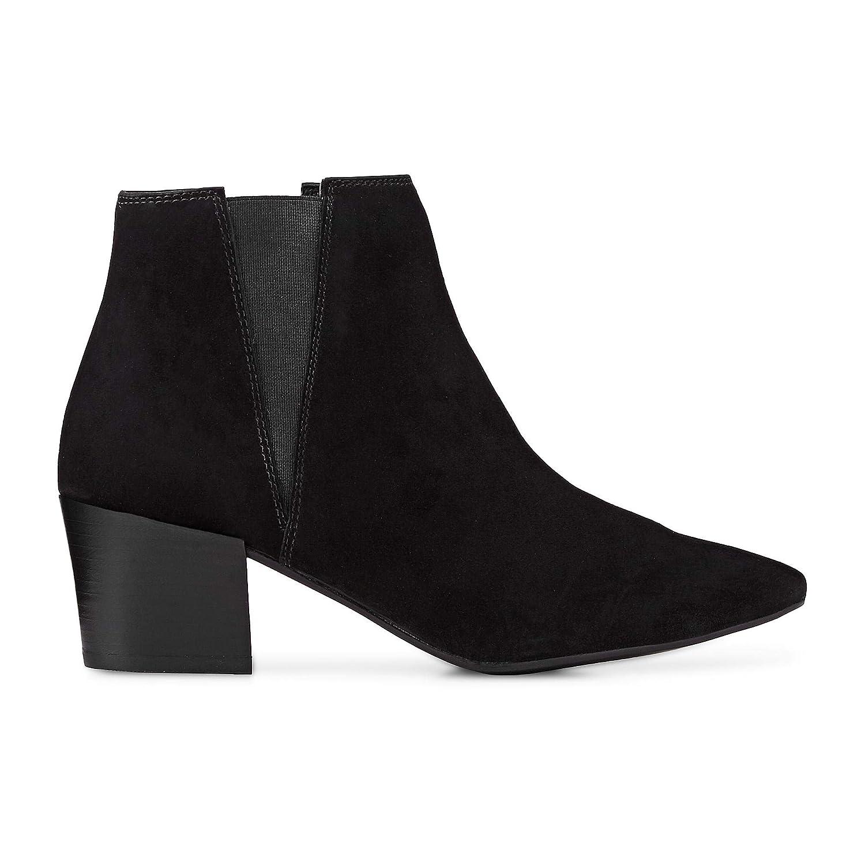 Cox Damen Fashion-Stiefelette aus Leder, Stiefel in Schwarz mit Block-Absatz Block-Absatz Block-Absatz bd9873