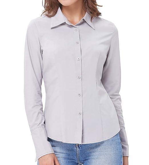 Kate Kasin Women S Button Down Dress Shirts Long Sleeves Slim Fit