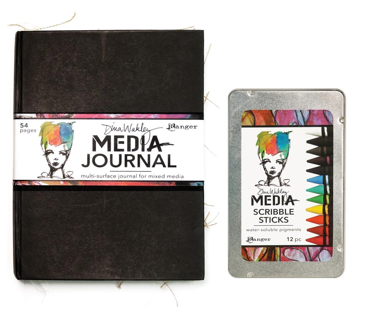 Dina Wakley Media Journal and Scribble Sticks Bundle - Mixed Media Journal & 12 Water-Soluble Crayons by Dina Wakley Media