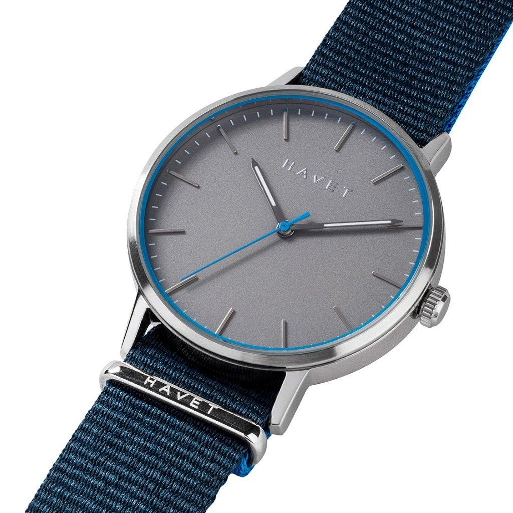 HAVET | Reloj de hombre Halten de acero con esfera gris y correa nato azul marino: Amazon.es: Relojes