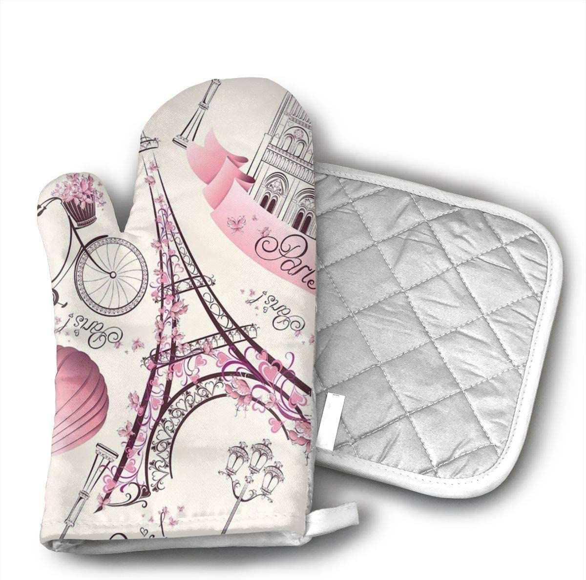 UYRHFS Pink Paris Eiffel Tower Oven Mitts and Pot Holder Kitchen Set with, Heat Resistant, Oven Gloves and Pot Holders 2pcs Set for BBQ Cooking Baking