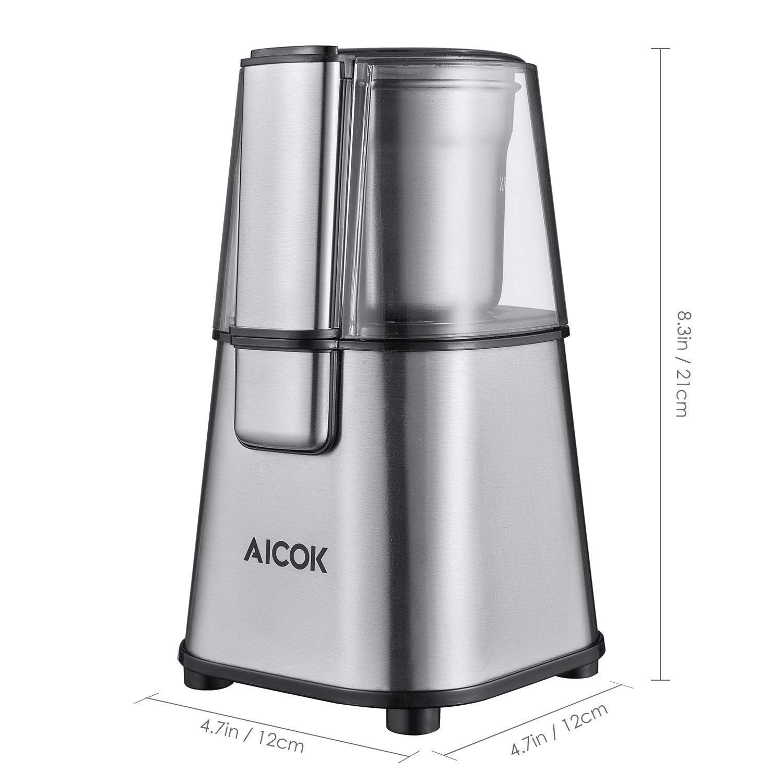 Aicok Macinacaff/è Elettrico Macinino Caffe per Caff/è//Semi di lino//Spezie//Frutta Secca 220W Macina Caff/é in Acciaio Inox con Ciotole Rimovibile