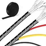 MOSOTECH kabelhanteringssystem, 0,6 x 5,2 m kabel prydlig spiralhölje + 0,3 x 3,0 m kabelband, DIY flexibelt kabelskydd…