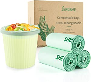 JEROSHE 100% Compostable Trash Bags 3 Gallon - Small Trash Bags, 60 Count Food Scraps Kitchen Garbage Bags, Extra Thick 0.71 Mil, 100% Biodegradable, for Kitchen Bathroom Office Trash Can Pet