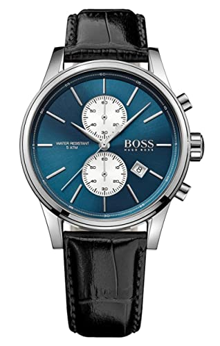 Amazon.com  Hugo Boss Men s Jet 1513283 Silver Leather Quartz Watch  Hugo  Boss  Watches 339f833130af