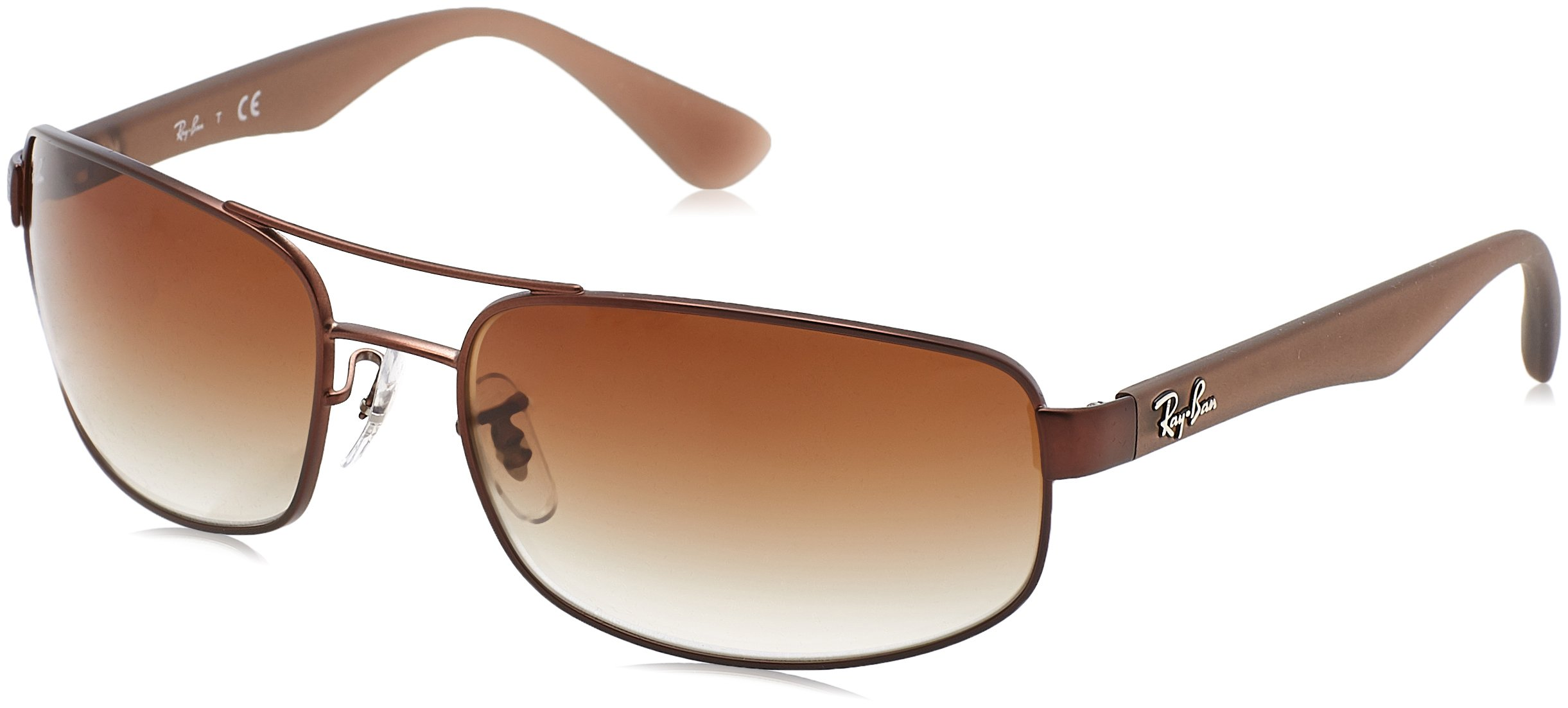 Ray-Ban Men's RB3445 Sunglasses Matte Brown / Brown Gradient 61mm by Ray-Ban