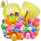 32 huevos de Pascua precargados más un huevo sorpresa de plástico con purpurina de 25,4 cm con juguetes para niños, juguetes