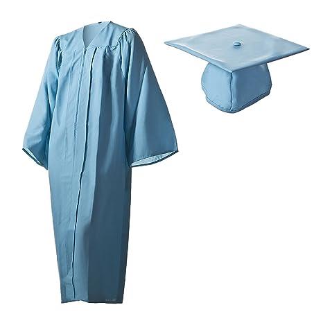 588385d450878 Amazon.com  Matte Light Blue Graduation Cap and Gown Set in Multiple ...
