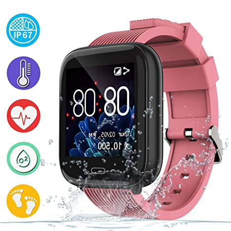 Smart Watch Fitness Tracker with Heart Rate Blood Pressure Oxygen Sleep Monitor, Color Screen Activity Tracker Sport Watch with Pedometer IP67 ...