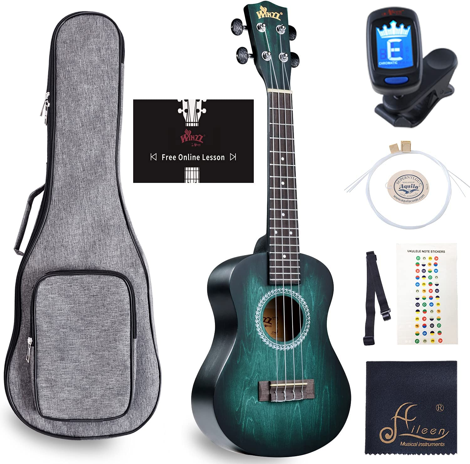 WINZZ Concert Ukulele Vintage Hawaiian Uke with Online Lessons, Bag, Tuner, Strap, Extra Strings, Fingerboard Sticker, 23 Inches, Dark Cyan