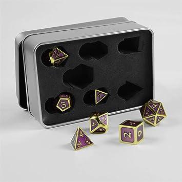 shibby 7 Dados poliédricos Steampunk en Oro Violeta para Juegos de rol y Mesa, Incluye Caja de almacenaje: Amazon.es: Juguetes y juegos