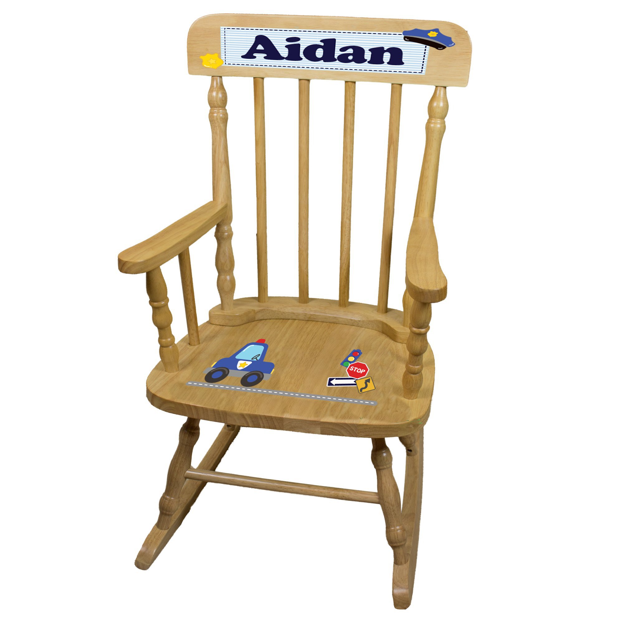Personalized Police Wooden Childrens Rocking Chair