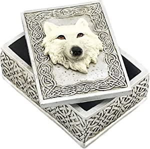 Bellaa 24728 Wolf Box Celtic Secret Storage Jewelry Trinket Memento Keepsake Case