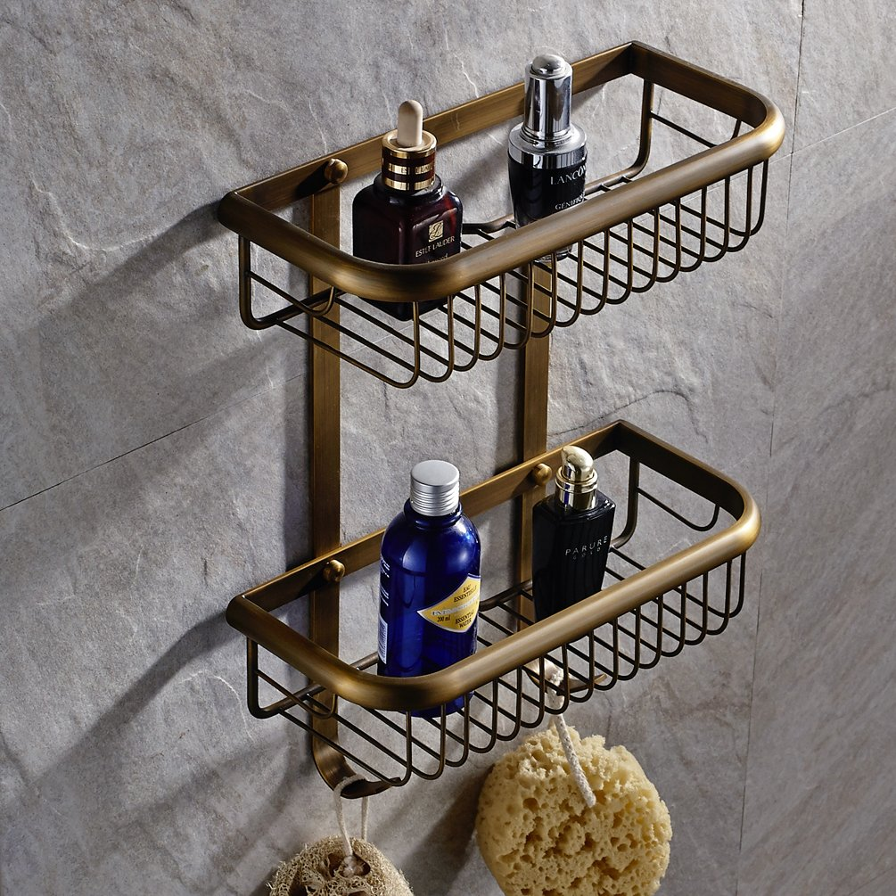 Wall Mount Solid Brass 2 Tiers Dual Rectangle Wire Baskets Bathroom Shower Caddies Storage Cosmetic Holder Shower Accessories Shelf Bathroom Hardware (antique brass Finish)