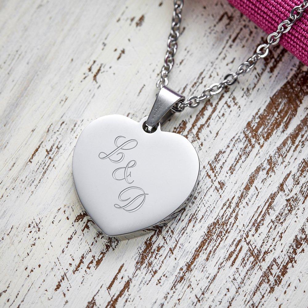Wunsch GRAVUR Name Datum Herzanhänger mit Kette Halskette in HERZBOX Edelstahl