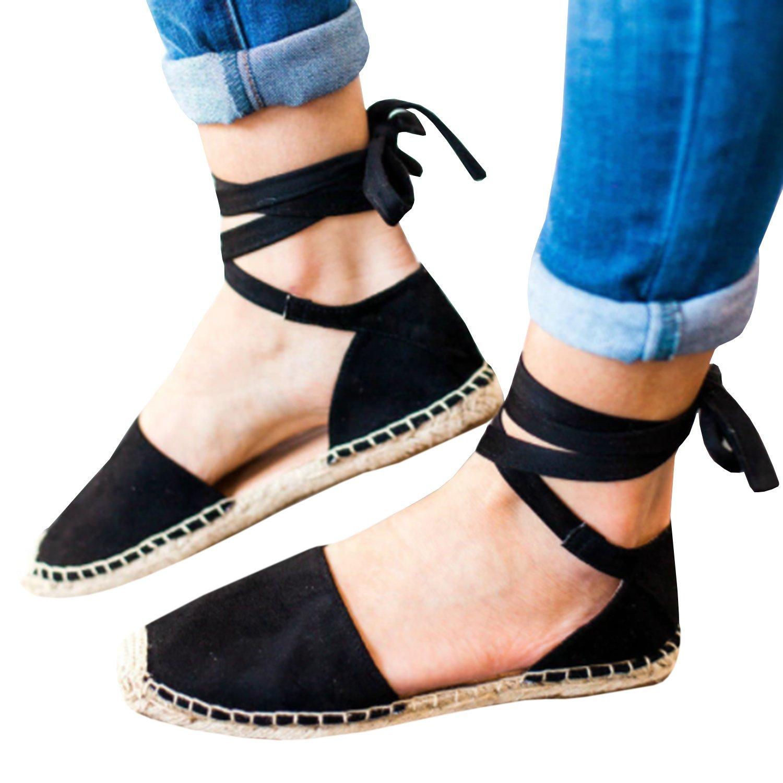 Gemijacka Damen Knouml;chel Schnalle Riemen Espadrilles Ausgeschnitten Binden Niet Klassischen Sommer Flache Sandale Schuhe  37 EU|1-schwarz