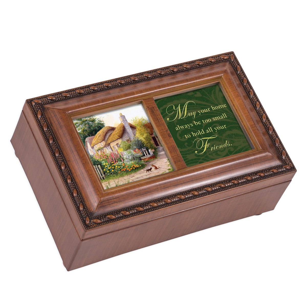 Cottage Garden May Your Home Hold Your Friends Wood Finish Small Jewelry Music Box Plays Irish Eyes Smiling