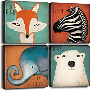 Oreichar Art Animals Wall Art Canvas Prints Inspirational Quotes Wall Decor Picture Painting for Baby Kids Room Bedroom Nursery Decor (12