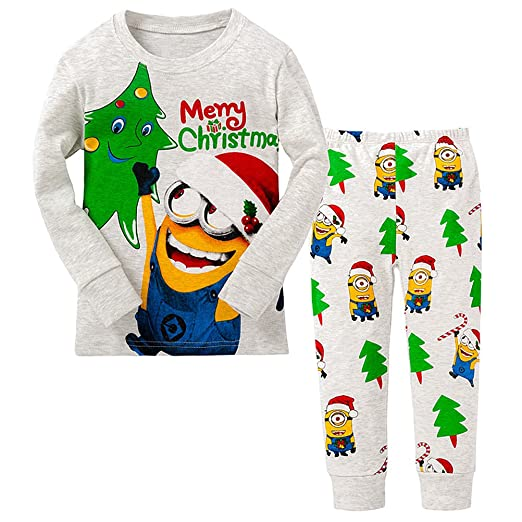 AMGLISE Little Boy Merry Christmas 2 Piece Pajamas Set 100% Cotton (18M-2Y 3c3068797