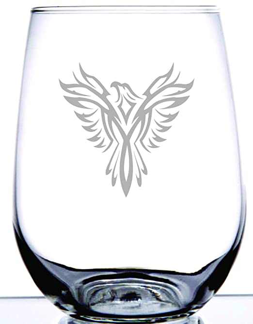 Ie Laserware Phoenix Bird Laser Etched Engraved Wine Glass 17 Ounce Stemless Wine Glass Devlinotheline