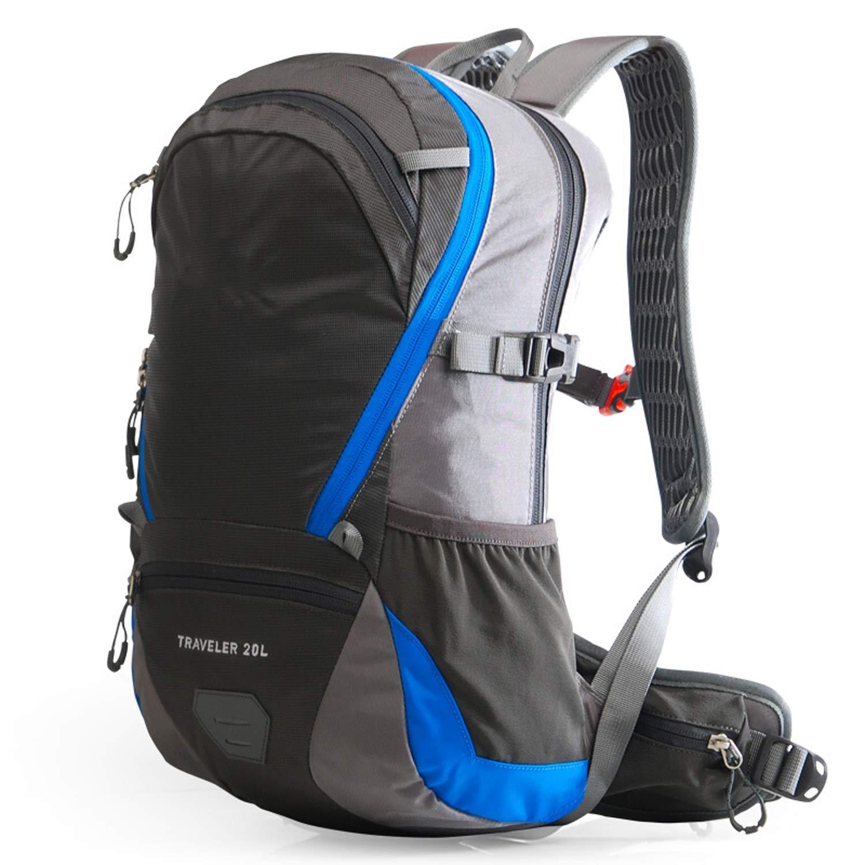 バックパック バッグ、男性と女性の屋外バックパック、撥水大容量ナップザック20 Lサイクリング旅行リュックサックブラック/ブルー/グレーkuytyg バッグ (Color : Gray) Gray