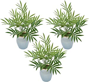 I-GURU 3 Pack Mini Potted Green Plants Artificial Decor, Small Fake Plant for Home Office Desk Room Table Shelf Decor