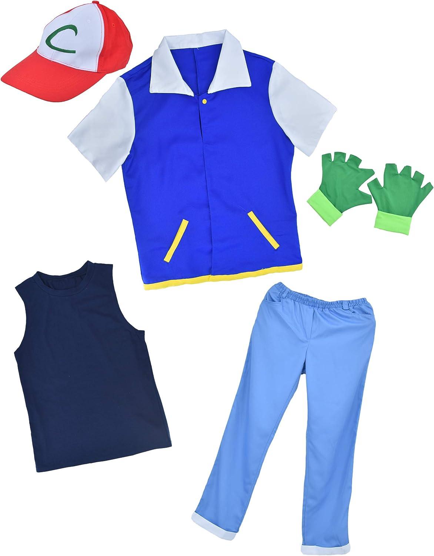 Children Cosplay Pokemon Ash Ketchum Trainer Costume Shirt Jacket Boy Cloth size