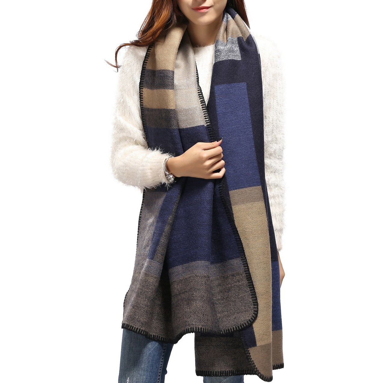 Jelinda Warm Winter Acrylic Thicken Plaid Shawl Poncho (Blue)
