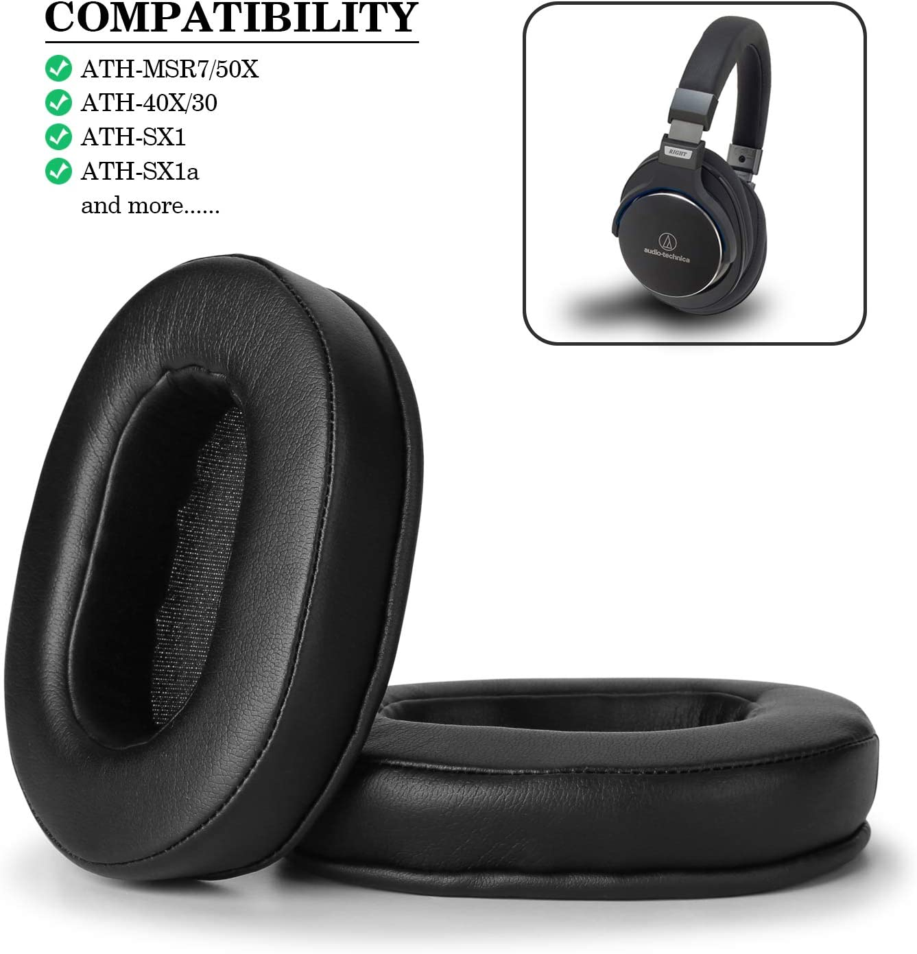Replacement Ear Pads for ATH M50x, WADEO Ear Cushions Kit Memory Foam Earpads Cover Compatible with Audio Technica M40X M30X M20 Sony MDR-7506 V6 CD900ST Ultrasone and More (Full List Inside), Black