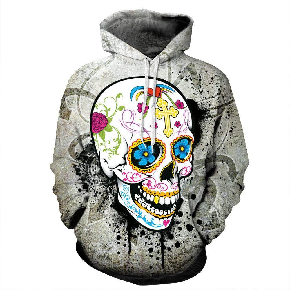 CHAOHAO@ 3D Kapuzenpullover Kapuzenpullover 3D-Shirt Bemalte Totenkopf-Print-Pullover Halloween-Set Kapuzenpullover Männer