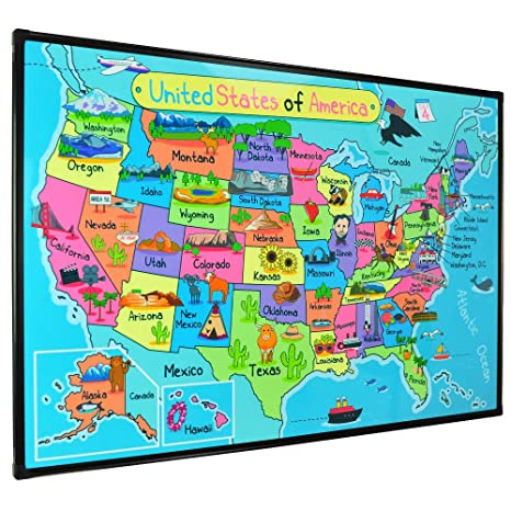 Lockways Magnetic Dry Erase whiteboard Map, Kid USA Travel Map 36 x 24  Inch, Black Aluminium Frame