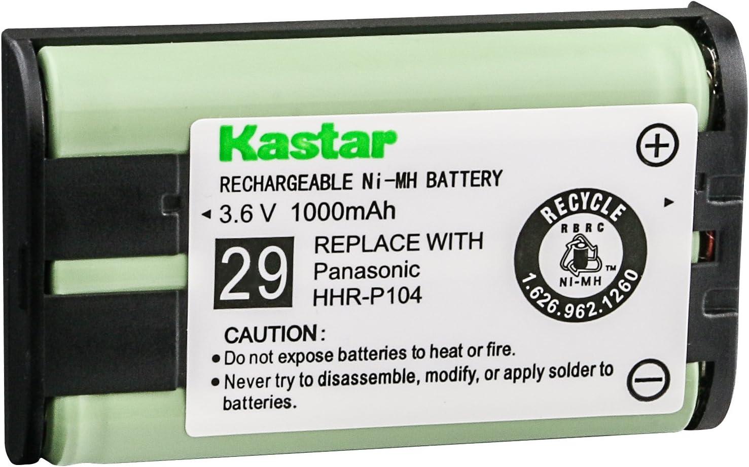 Kastar 3-Pack Type 29 Cordless Phone Battery for Panasonic HHR-P104 HHR-P104A 23968 439024 439025 KX-TG2302 KX-TG230 KX-TG2312 KX-TG2355W KX-TG2356 KX-TG2357 KX-TG2382B KX-TG2386B KX-TG2388B KX-TG2396