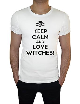 Keep Calm And Love Witches Herren T-Shirt Weiß Kurze Hülsen Alle Größen |  Men's
