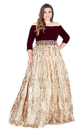 9c7162108df Mac Duggal Fabulouss - 66831F Off-Shoulder Sequined Velvet Ballgown at  Amazon Women s Clothing store
