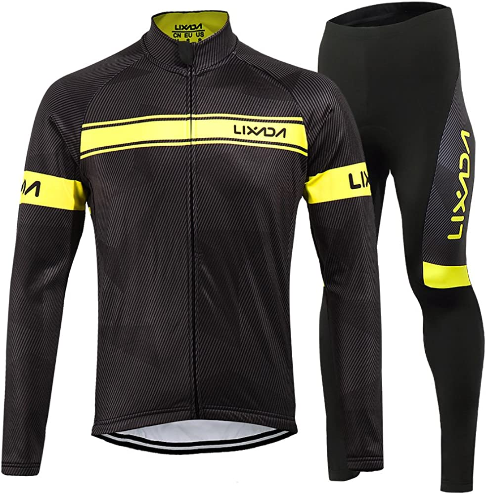 Lixada Men's Cycling Jersey Suit Winter Thermal Fleece Long Sleeve Mountain Bike Road Bicycle Shirt Padded Pants: Clothing