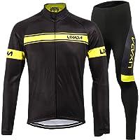 Lixada Completo Ciclismo Abbigliamento Set Uomo Inverno Termico Vello Maniche Lunghe Antivento Ciclismo Maglia Lunga e Pantaloni