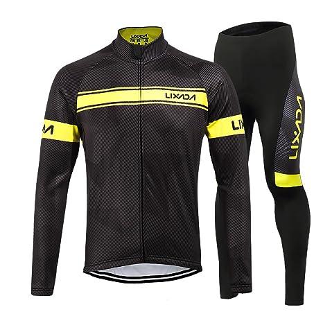 Lixada Completo Ciclismo Abbigliamento Set Inverno Termico Vello Maniche  Lunghe Antivento Ciclismo Maglia + 3D Pantalone 86acb595ee6