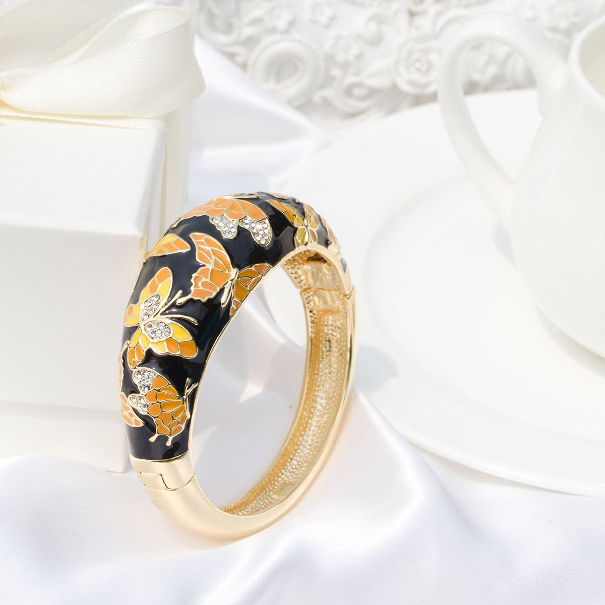 Gift Packing! Spring of Versaille Series QIANSE ❤ Spring of Versailles ❤ Yellow Gold Plated Handcrafted Bangles with Enamel Craft 7.5
