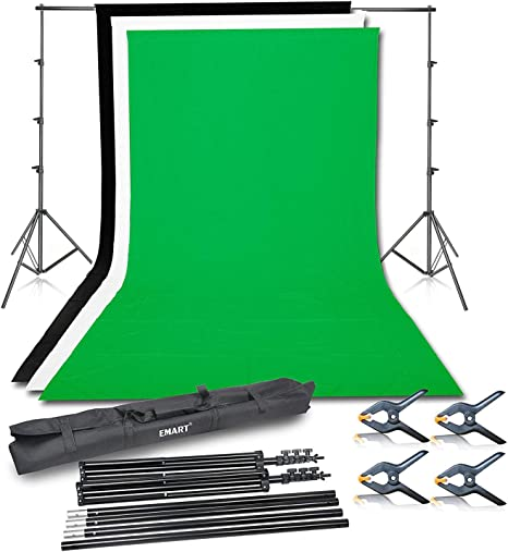Muselina De Algodón Negro Blanco Verde Kit de Soporte de fondo de pantalla telón de fondo Photostudio
