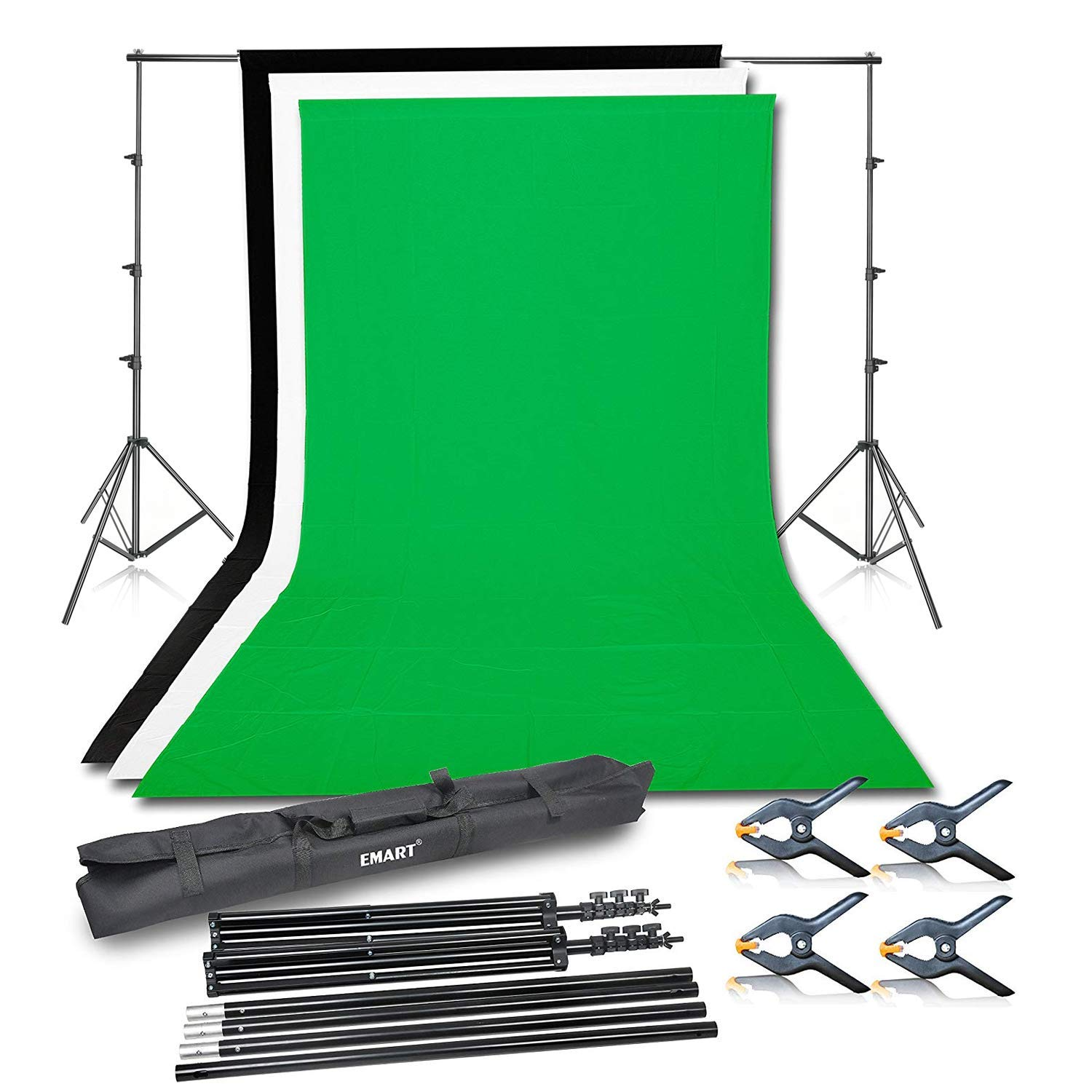 Emart Photo Video Studio Background Backdrop Stand Kit, 8.5x10ft Photography Support System with 3 Muslin Backdrops 100% Cotton (Black White Green) by EMART