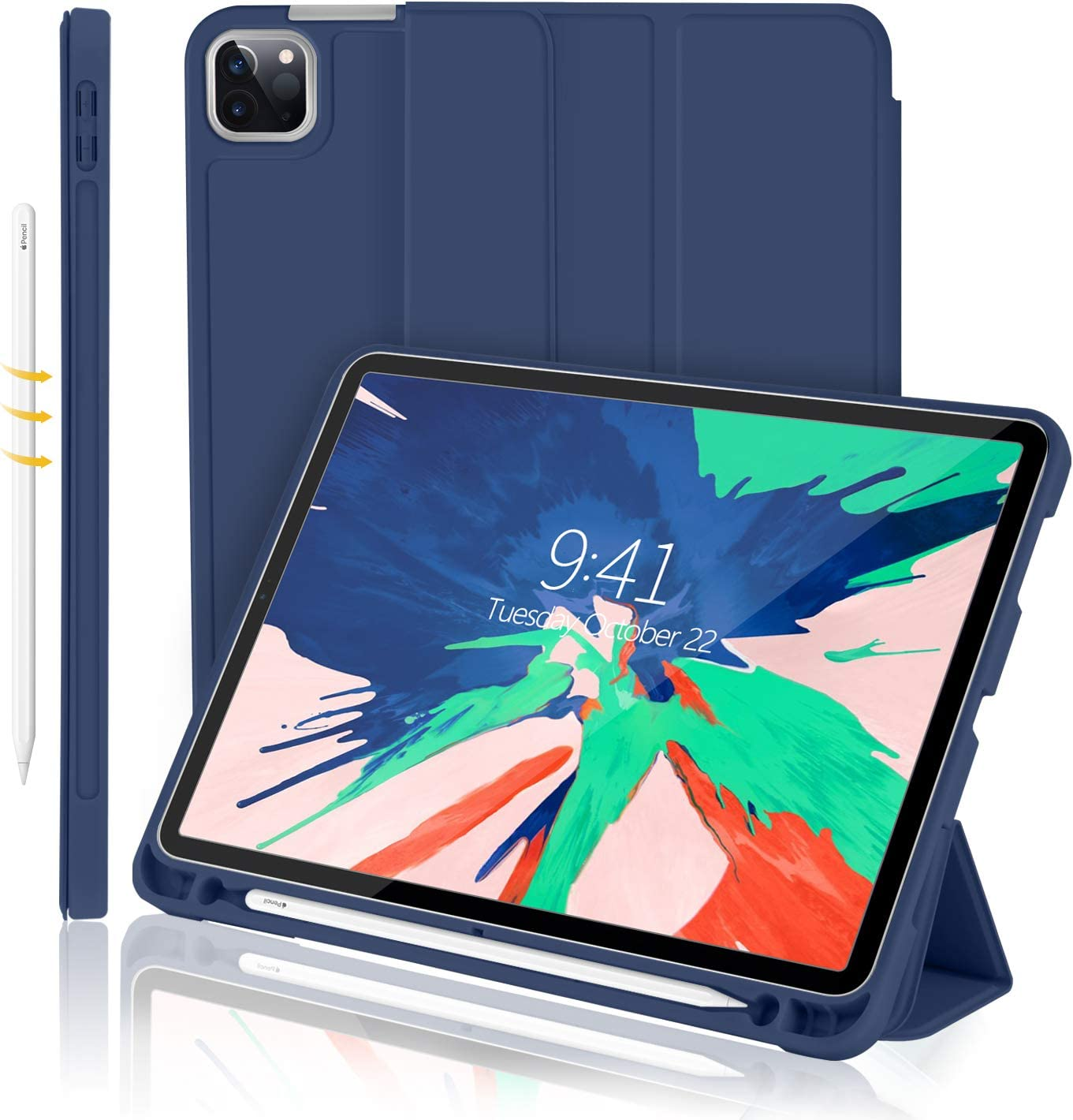 iMieet New iPad Pro 11 Case 2020 with Pencil Holder [Support iPad 2nd Pencil Charging/Pair],Trifold Stand Smart Case with Soft TPU Back,Auto Wake/Sleep (Navy Blue)