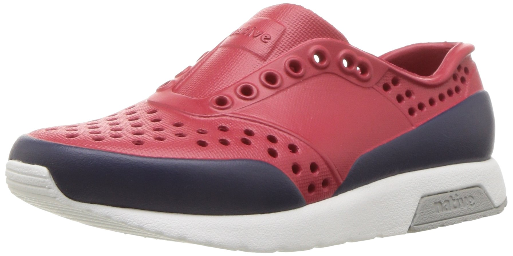 Native Shoes Baby Lennox Child Sneaker, ski Patrol red/Shell White/Pigeon Grey/Regatta Block, 4 Medium US Toddler by Native Shoes