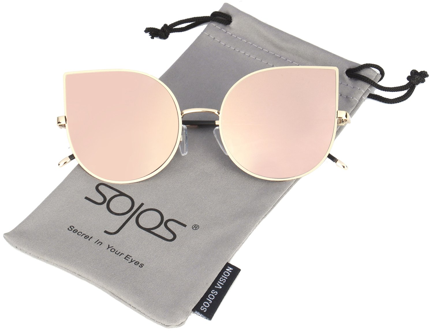 SOJOS Cat Eye Mirrored Flat Lenses Ultra Thin Light Metal Frame Women Sunglasses SJ1022 with Gold Frame/Pink Mirrored Lens by SOJOS