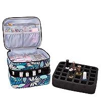 AFUOWER Nail Polish Organizer Bag with Handles Travel Case Portable Storage Bag for Manicure Set - Holds 30 Bottles (15ml - 0.5 fl.oz) (leaves)