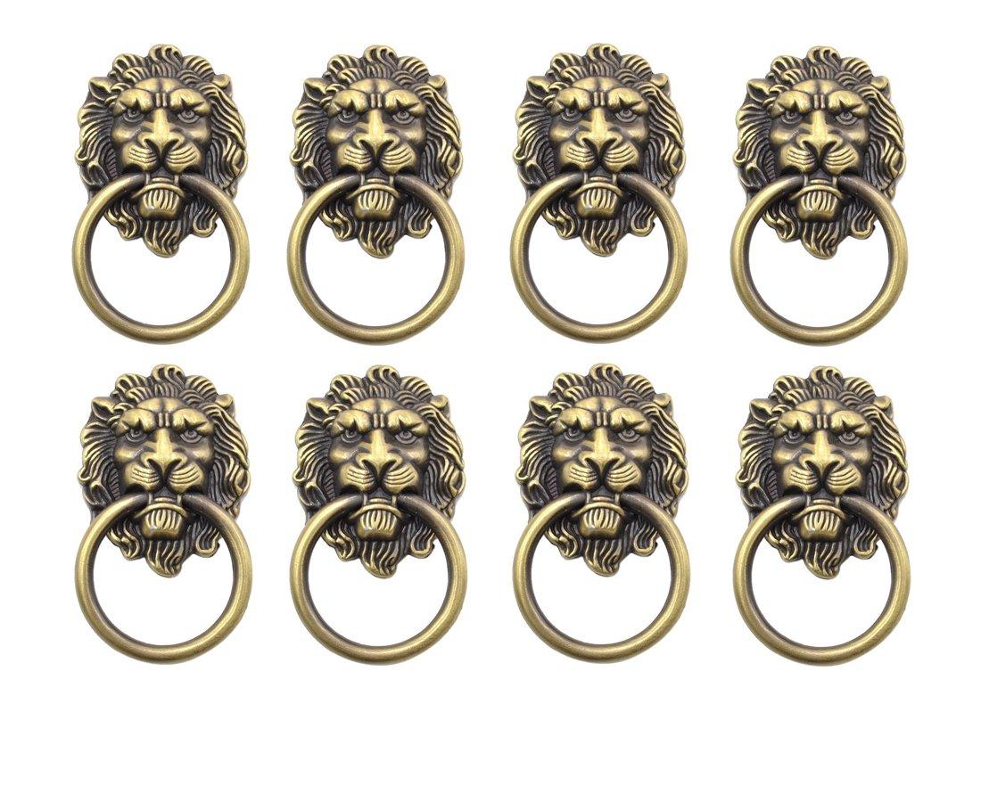 YCNK 8 Satz T/ürgriff Griff Schrank Schrank Schublade Metall Zug Ring Antik Lions Kopf Farbe Bronze