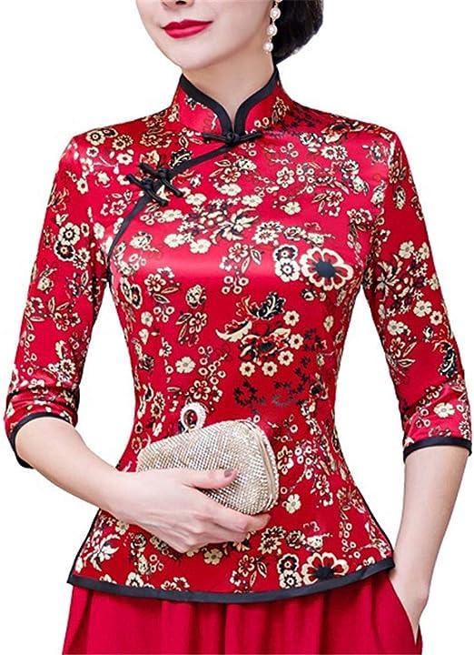 Auspiciousi Camisa Cheongsam Top 3/4 Manga Tradicional Chino Superior de Seda de imitación Chino Blusa para Las Mujeres: Amazon.es: Ropa y accesorios