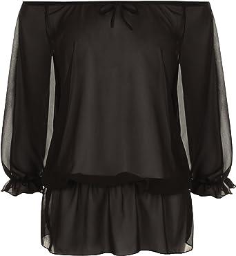 New Plus Size Womens Plain Gypsy Boho Ladies Off Shoulder Short Sleeve Top 14-28