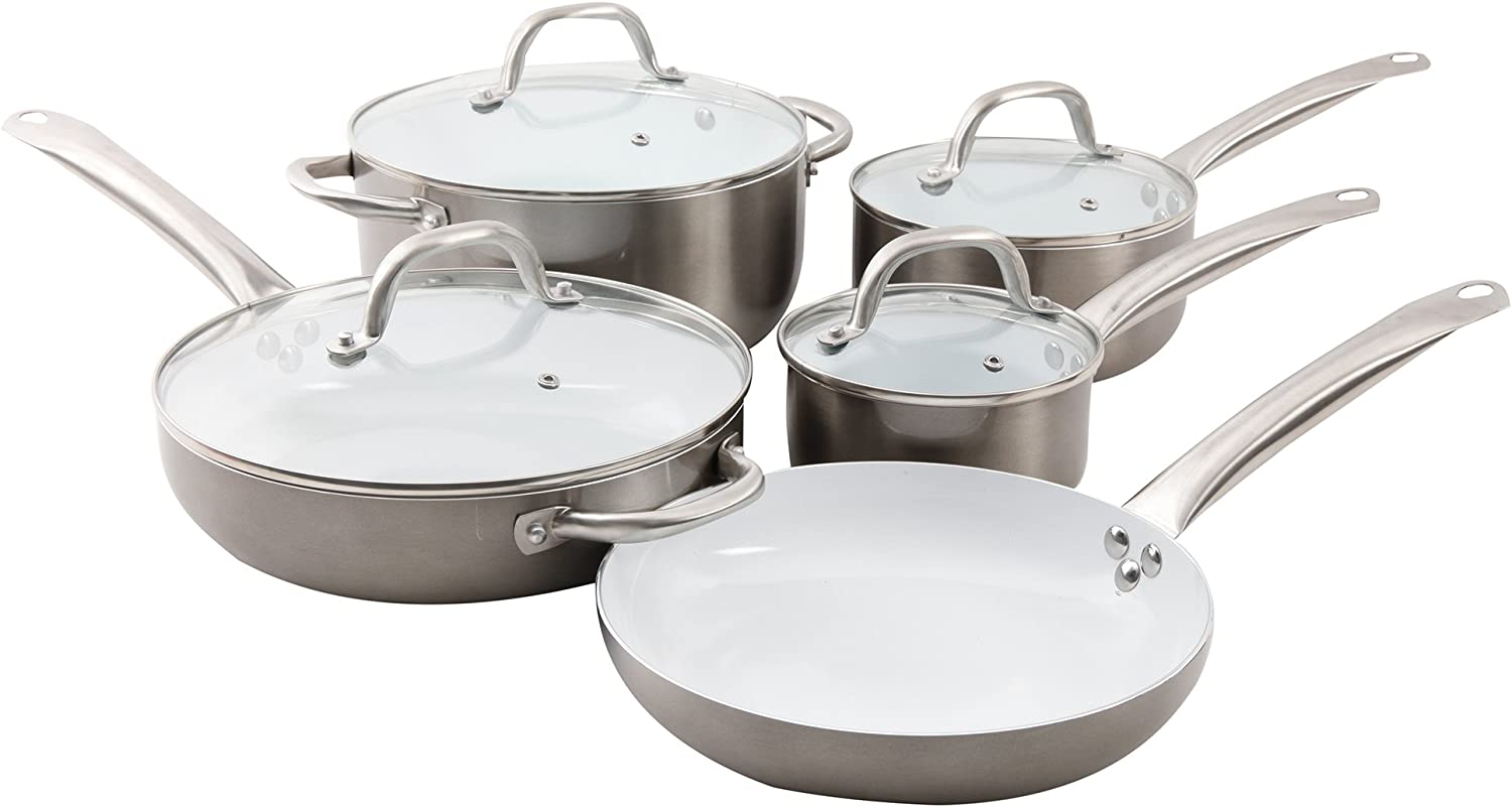 Oster 109478.09 Montecielo 9pc Aluminum Cookware Set, Metallic Titanium, 9 Piece