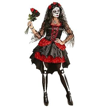 Amazon.com: Dia de los muertos (M), color rojo (Vestido Flor ...