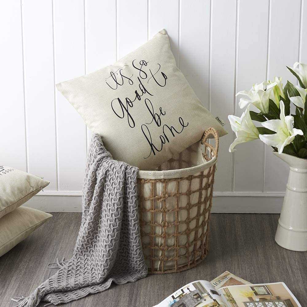 Meekio Farmhouse Pillow Covers With It S So Good To Be Home Quotes 18 X 18 Farmhouse Decor Housewarming Gifts Home Kitchen